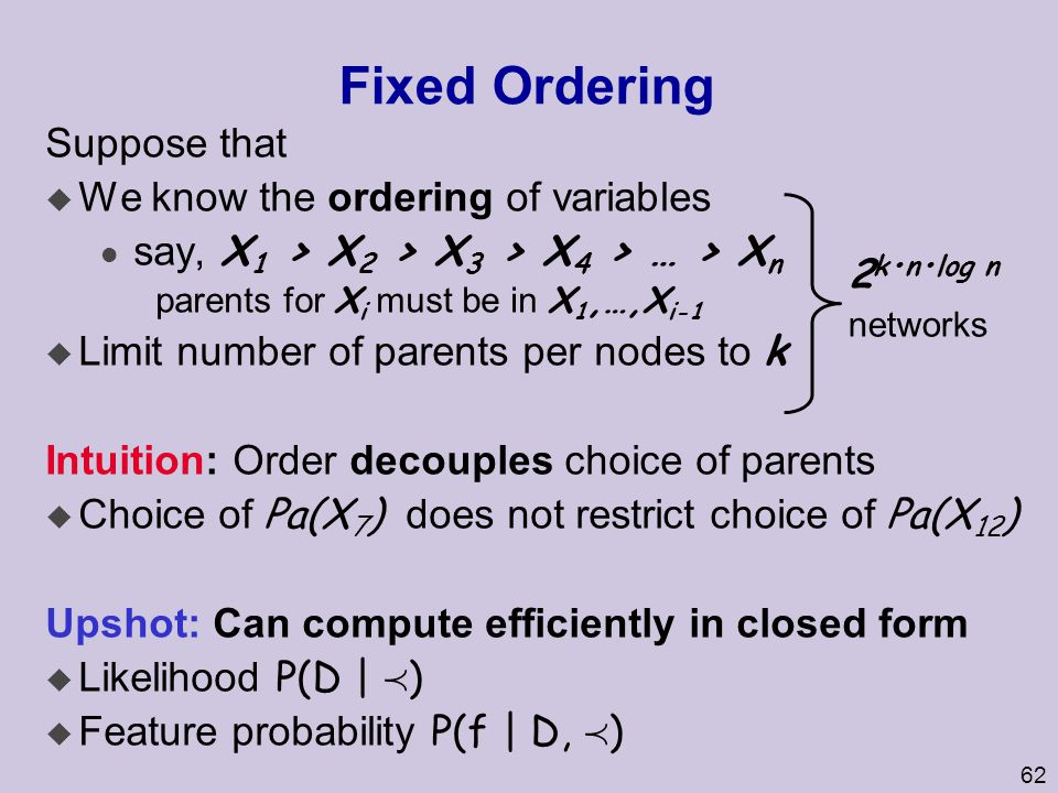 Fixed Ordering Suppose that We know the ordering of variables