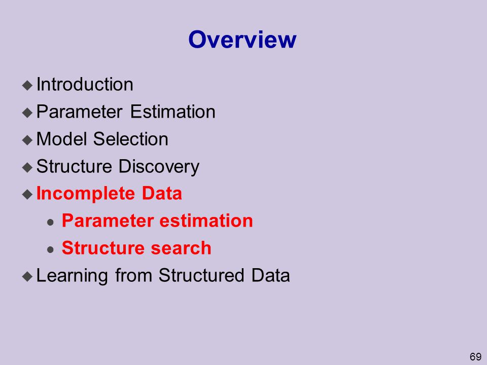 Overview Introduction Parameter Estimation Model Selection