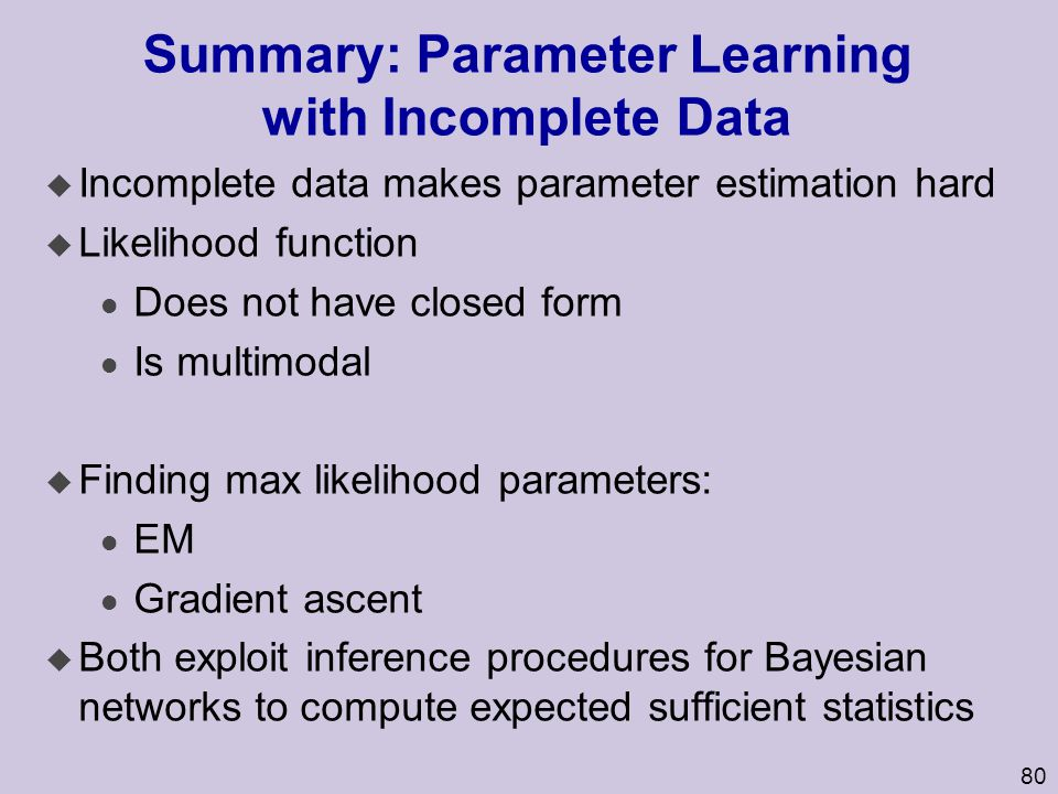 Summary: Parameter Learning with Incomplete Data
