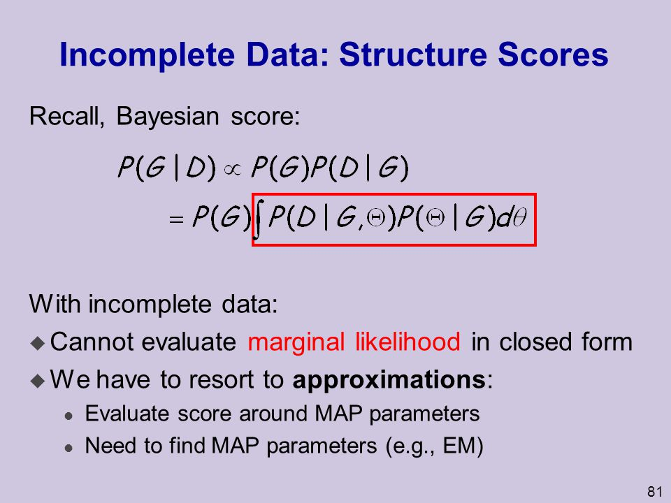 Incomplete Data: Structure Scores