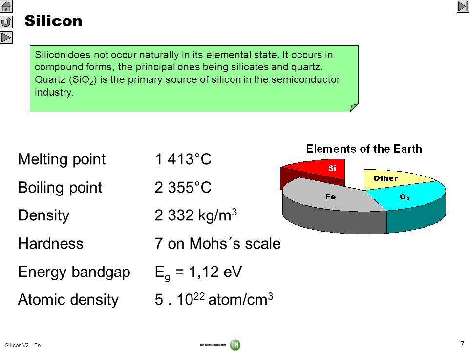 Hardness 7 on Mohs´s scale Energy bandgap Eg = 1,12 eV