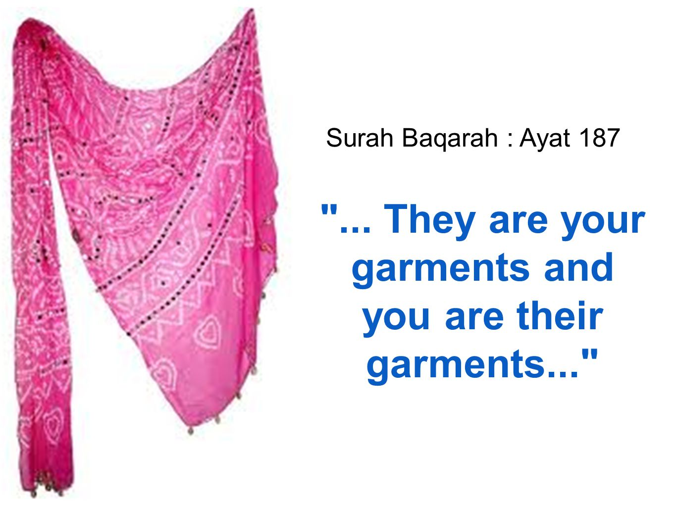 ... They are your garments and you are their garments...