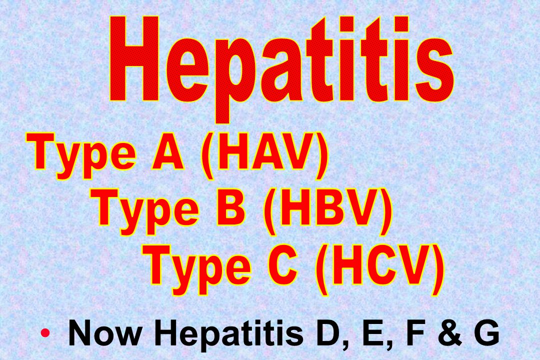 Now Hepatitis D, E, F & G Hepatitis Type A (HAV) Type B (HBV)
