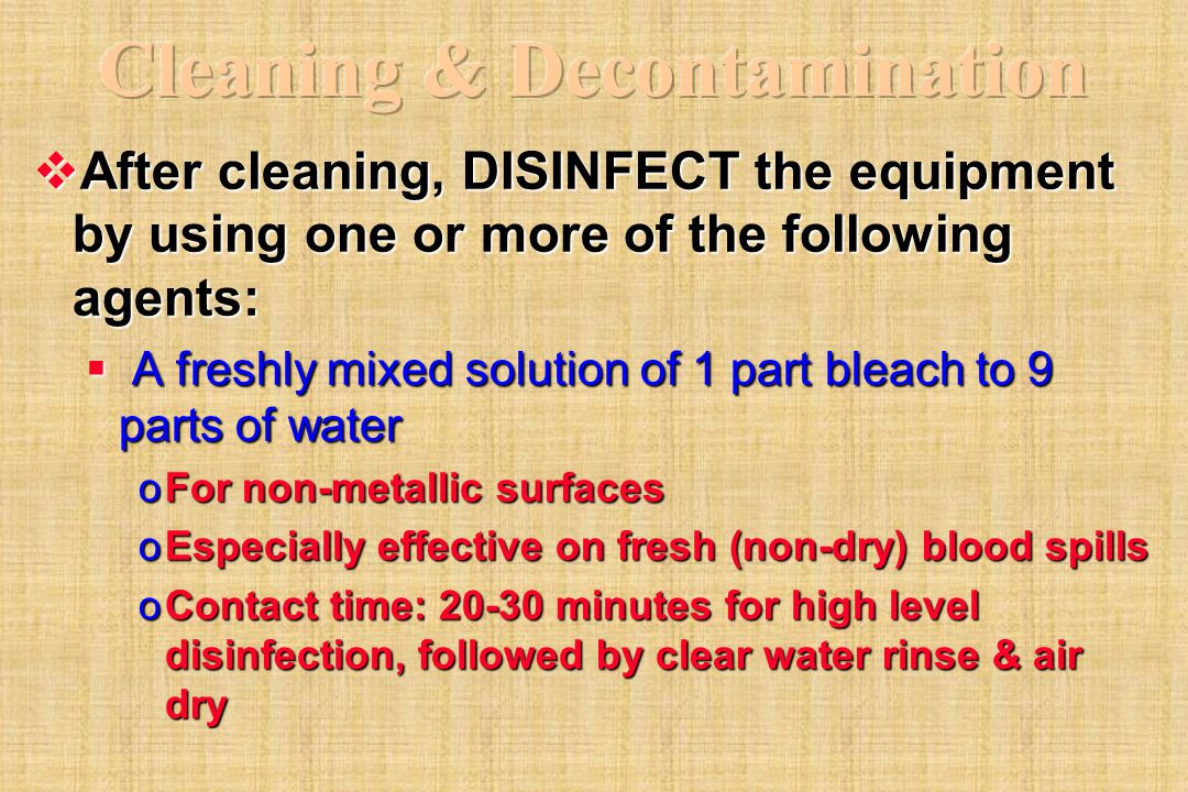 Cleaning & Decontamination