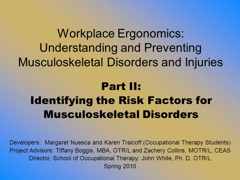 Part II: Identifying the Risk Factors for Musculoskeletal Disorders