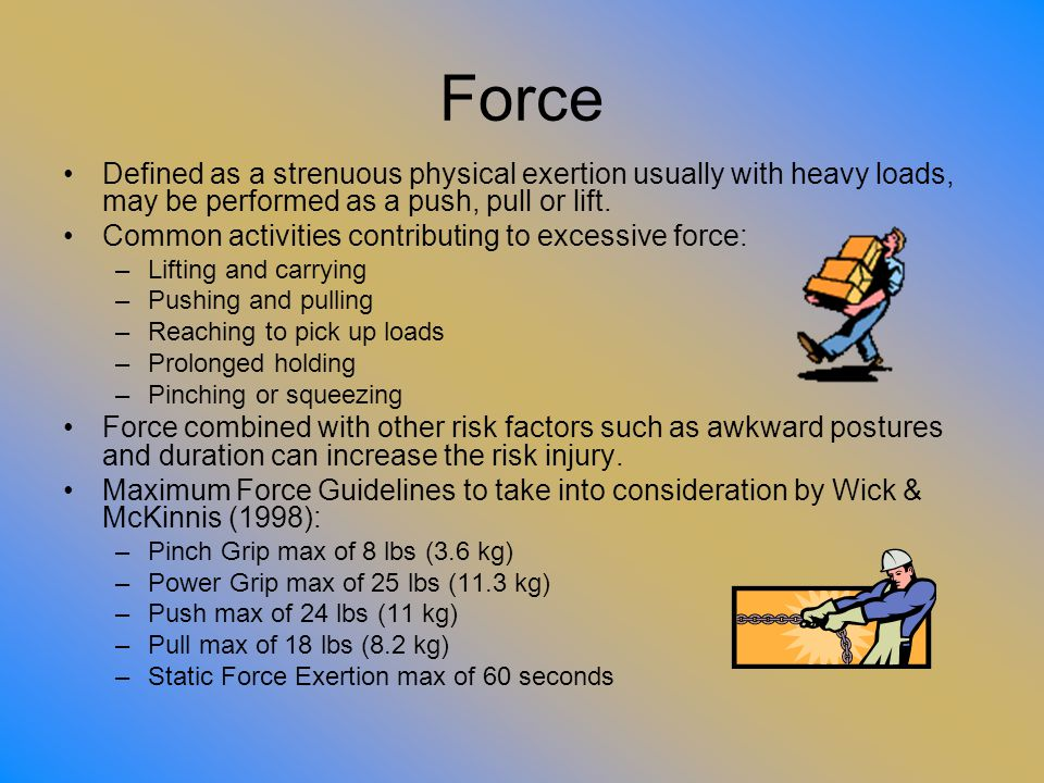 Force Defined as a strenuous physical exertion usually with heavy loads, may be performed as a push, pull or lift.