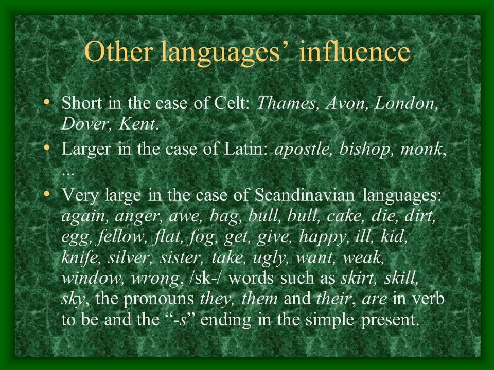 Other languages' influence