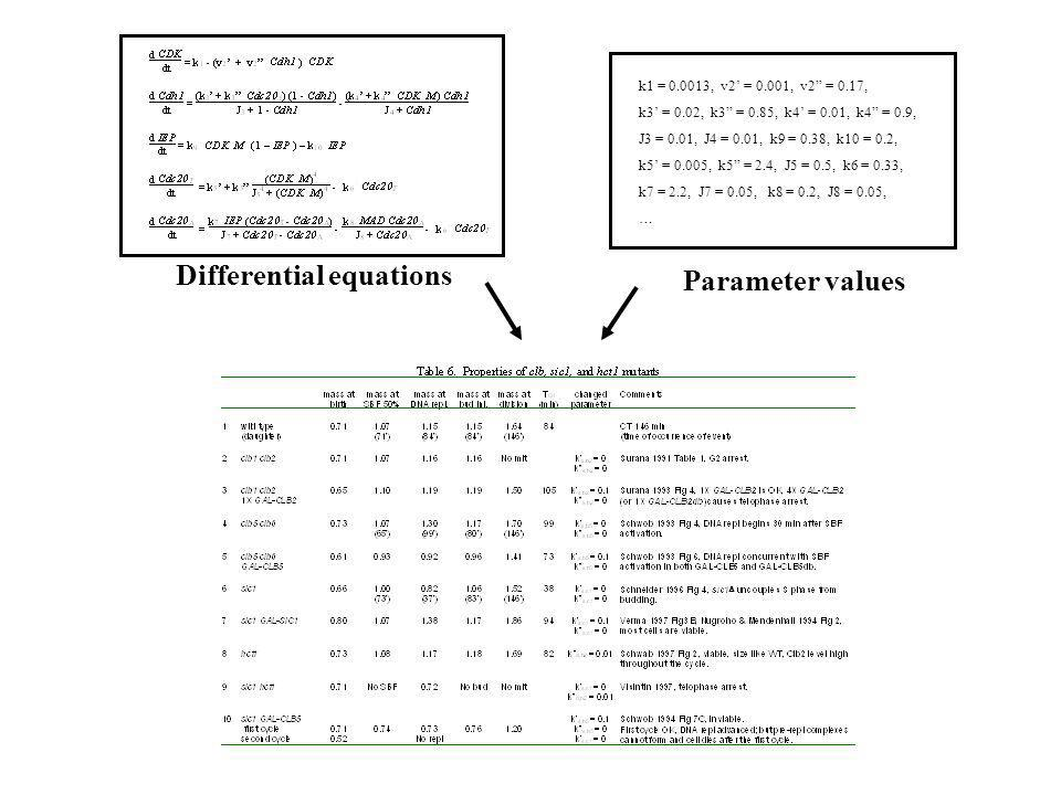 Differential equations Parameter values