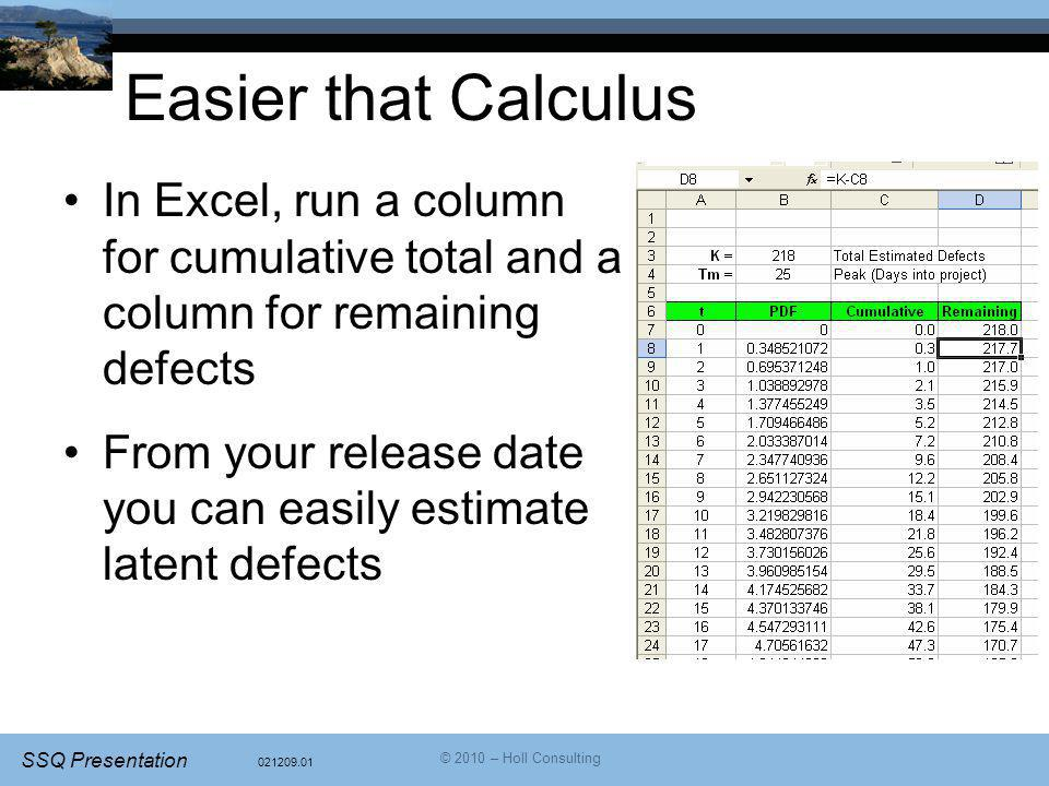 Easier that Calculus In Excel, run a column for cumulative total and a column for remaining defects.