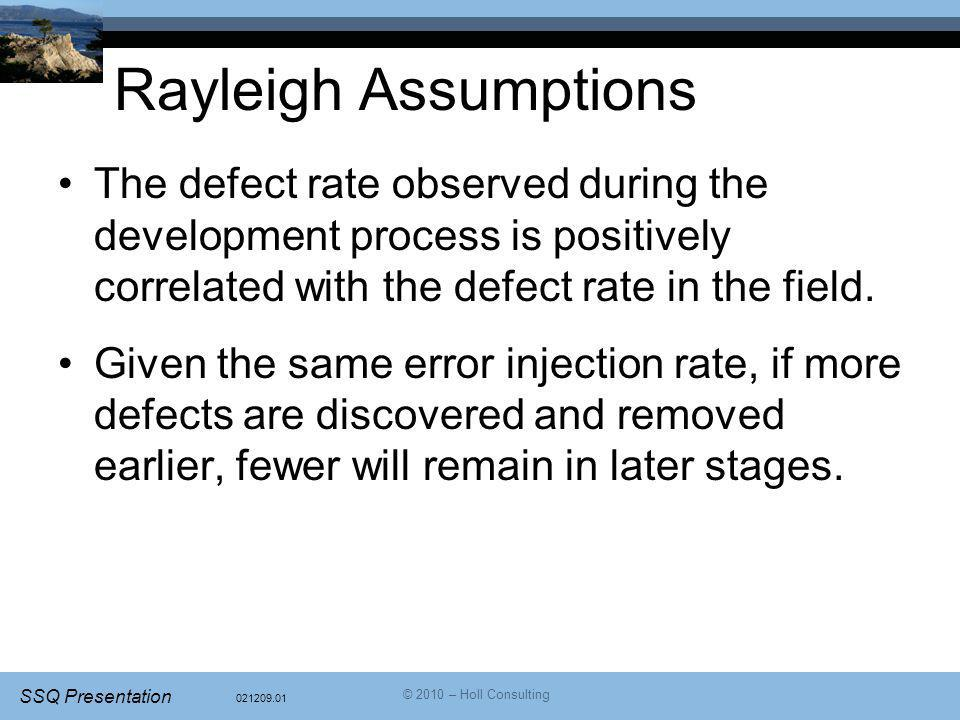 Rayleigh Assumptions The defect rate observed during the development process is positively correlated with the defect rate in the field.