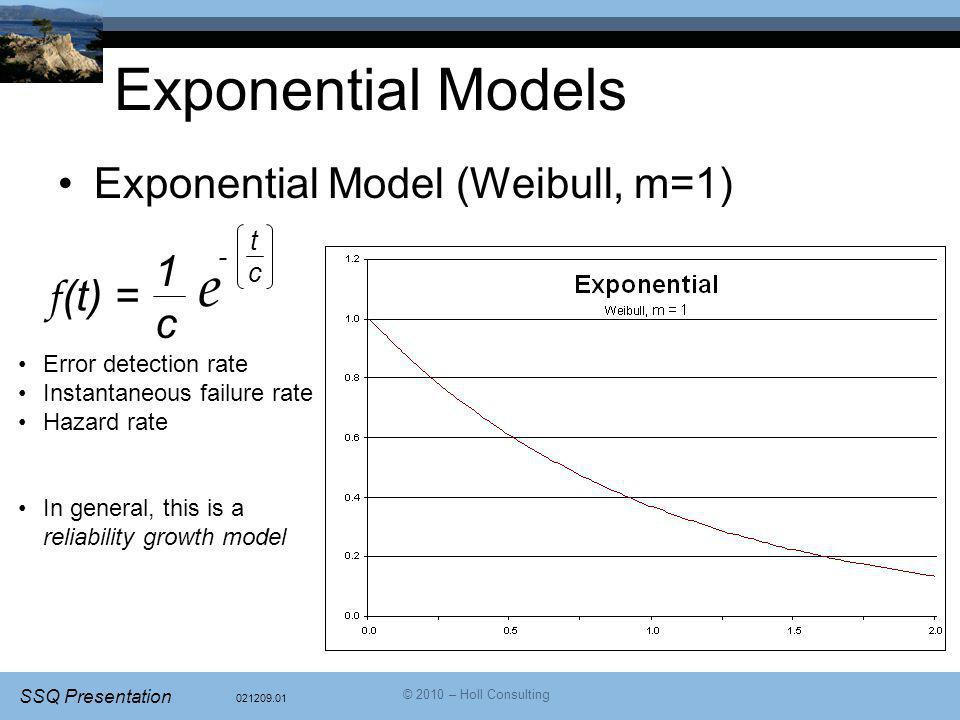 Exponential Models e Exponential Model (Weibull, m=1) 1 c f(t) = t -