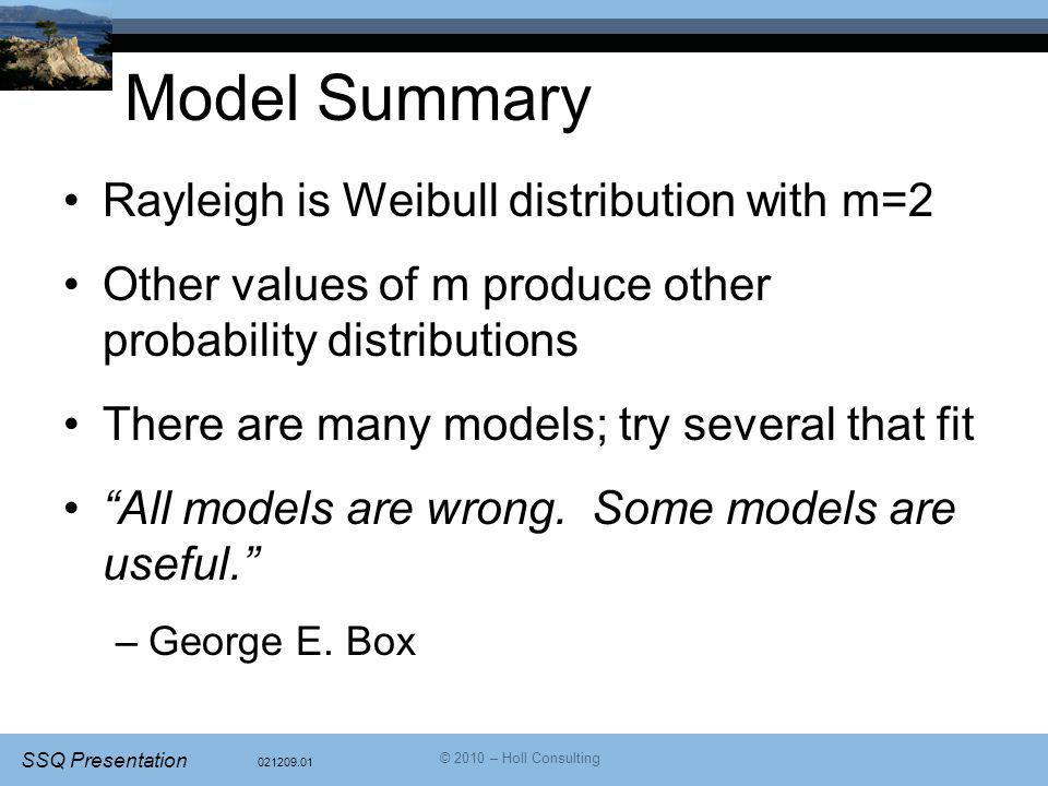 Model Summary Rayleigh is Weibull distribution with m=2