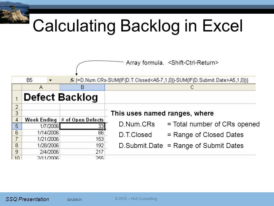Calculating Backlog in Excel
