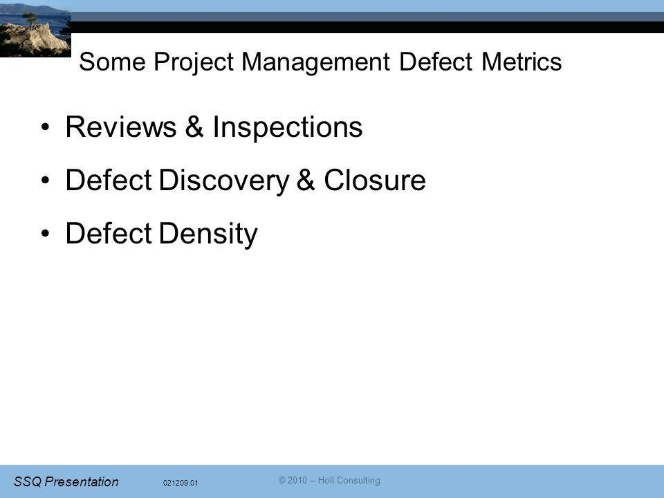 Some Project Management Defect Metrics