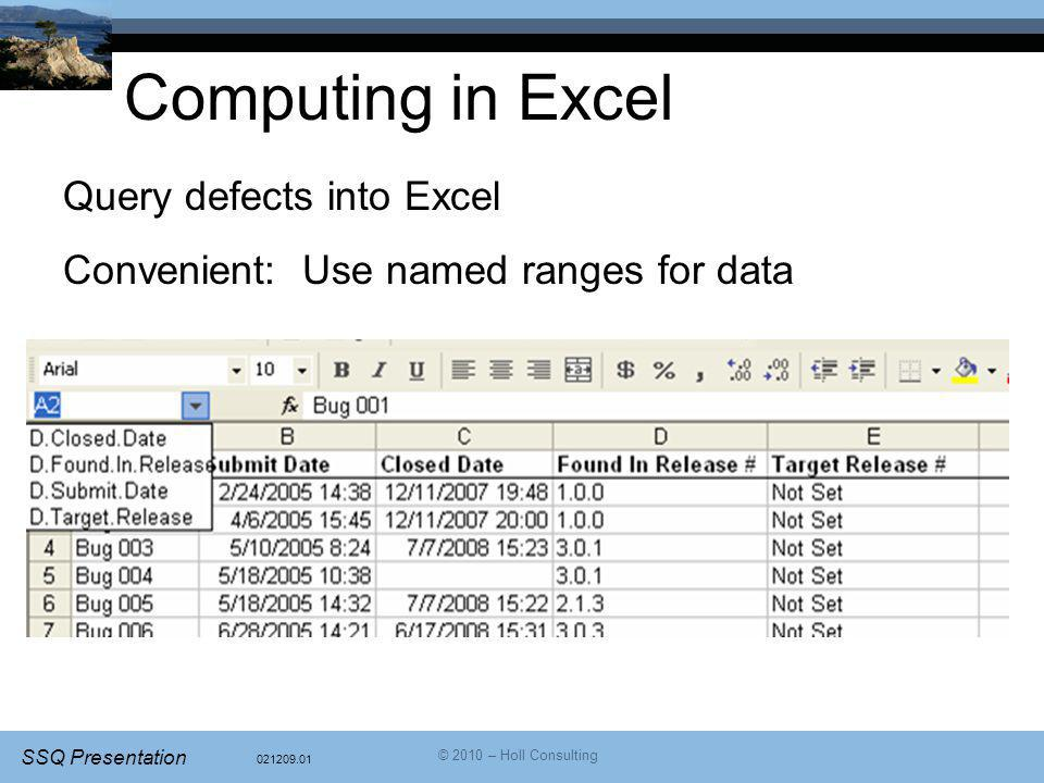 Computing in Excel Query defects into Excel
