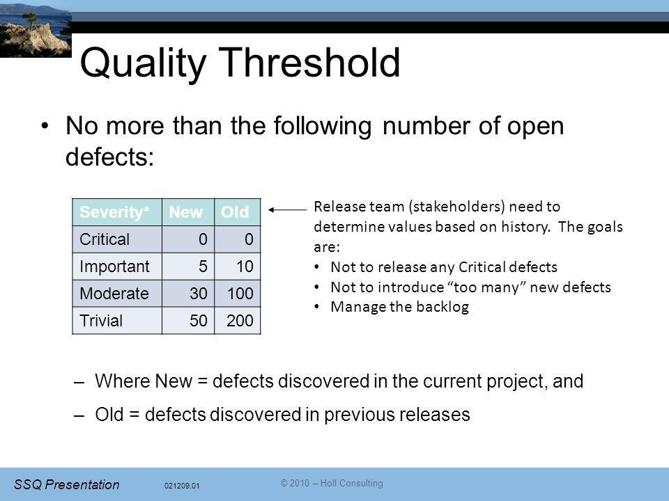 Quality Threshold No more than the following number of open defects: