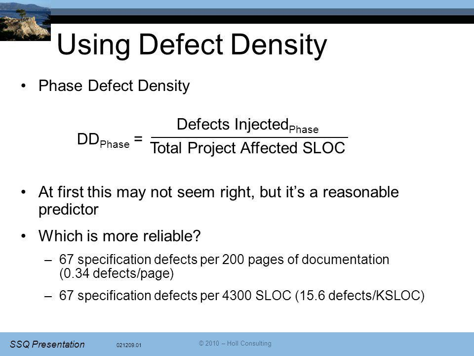 Using Defect Density Phase Defect Density DDPhase =