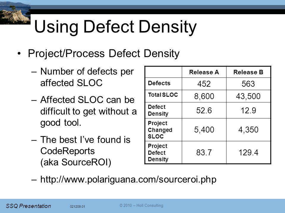 Using Defect Density Project/Process Defect Density