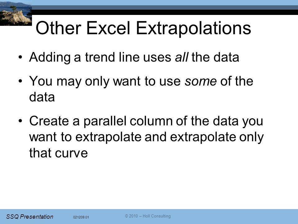Other Excel Extrapolations