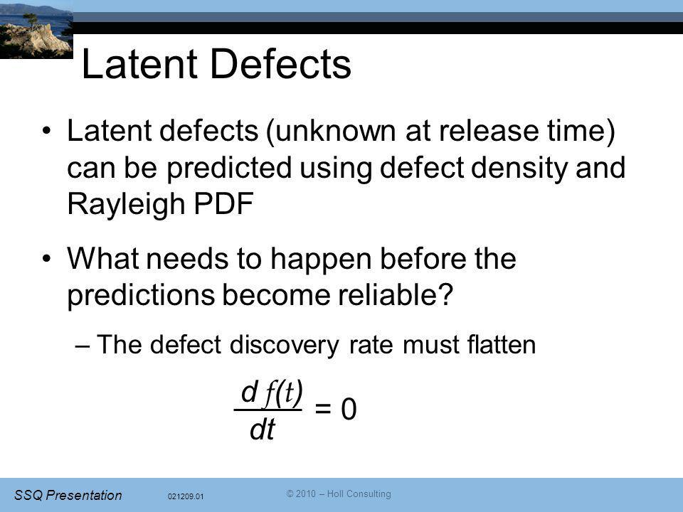 Latent Defects Latent defects (unknown at release time) can be predicted using defect density and Rayleigh PDF.