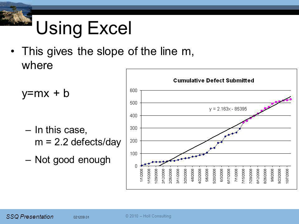 Using Excel This gives the slope of the line m, where y=mx + b