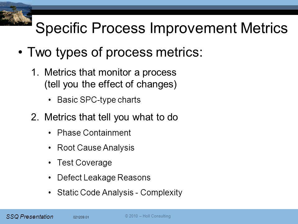 Specific Process Improvement Metrics