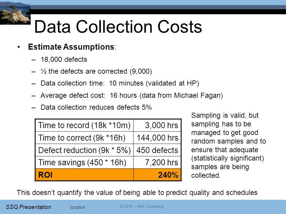 Data Collection Costs Estimate Assumptions: Time to record (18k *10m)