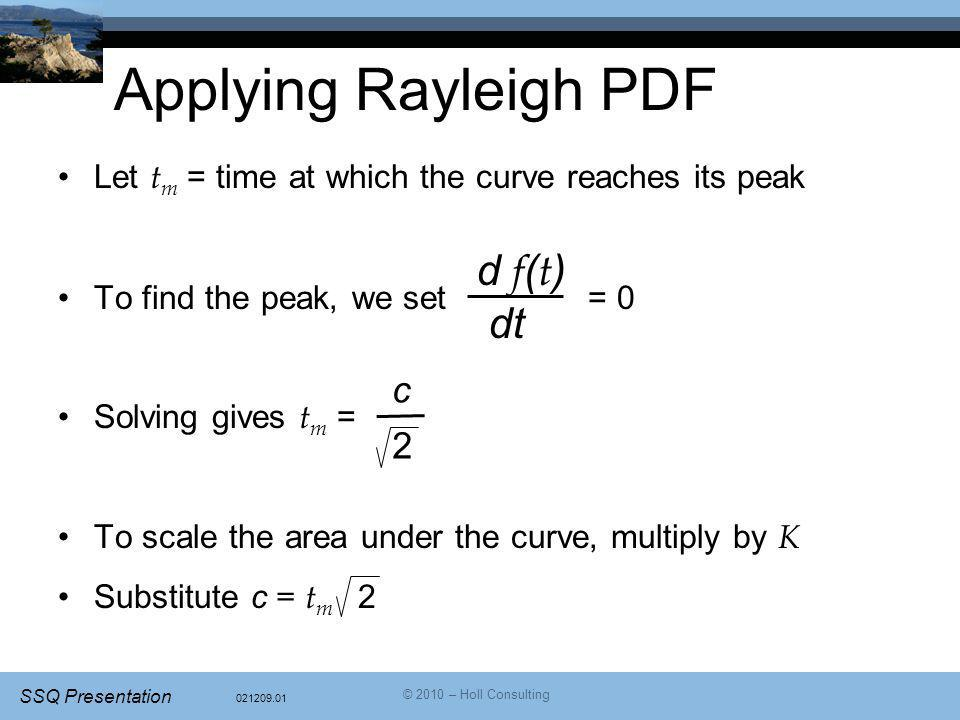 Applying Rayleigh PDF d f(t) dt c 2