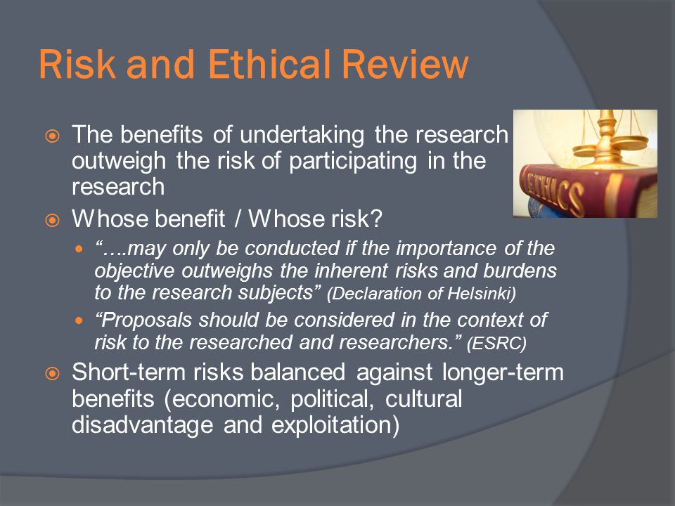 Risk and Ethical Review