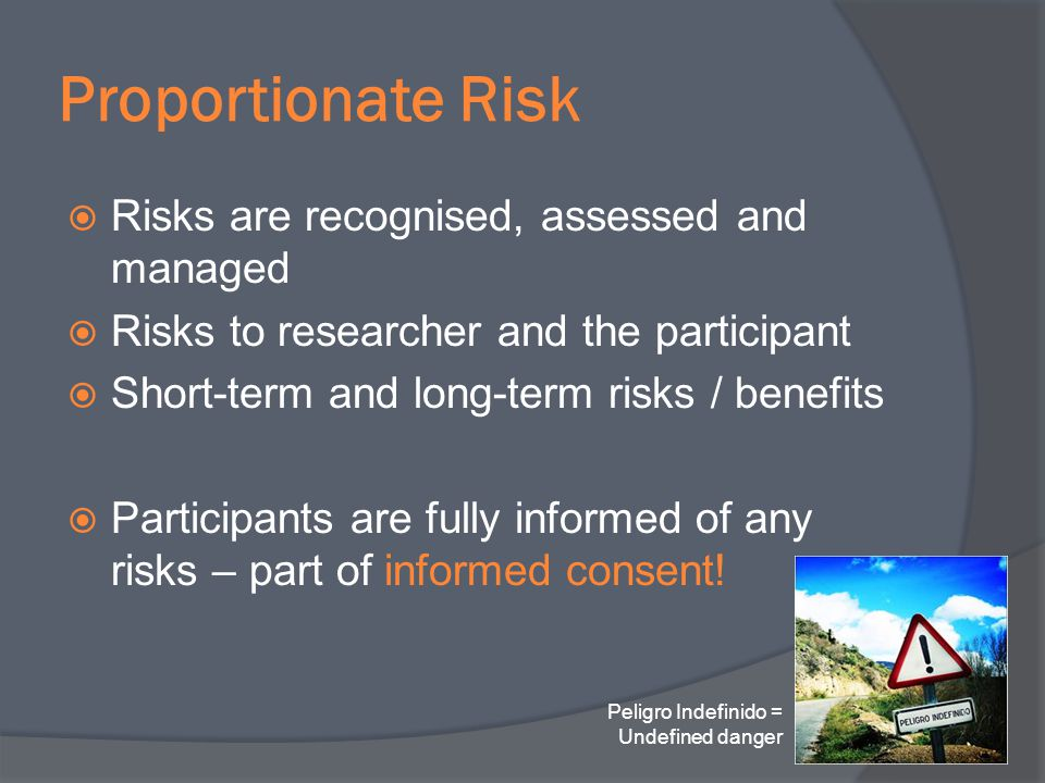 Proportionate Risk Risks are recognised, assessed and managed