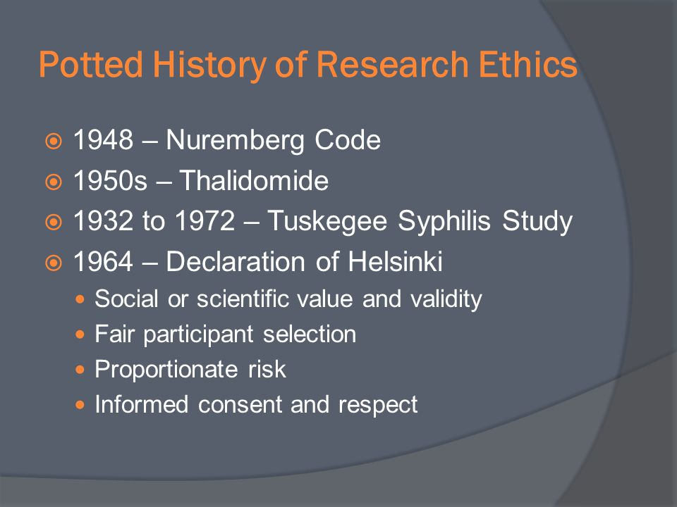 Potted History of Research Ethics
