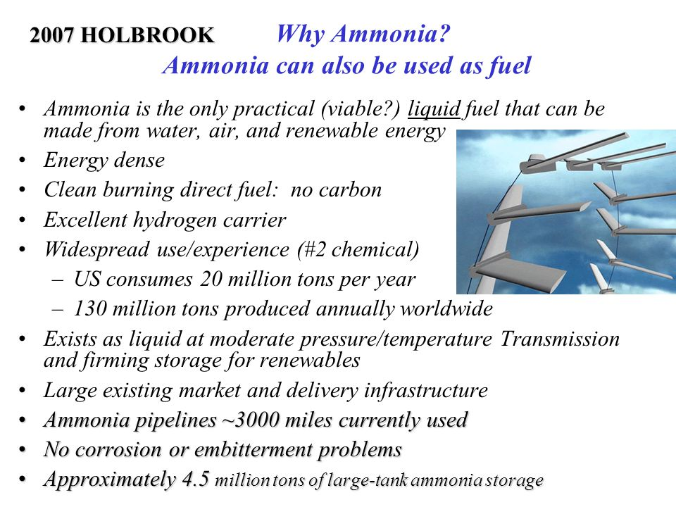 Why Ammonia Ammonia can also be used as fuel