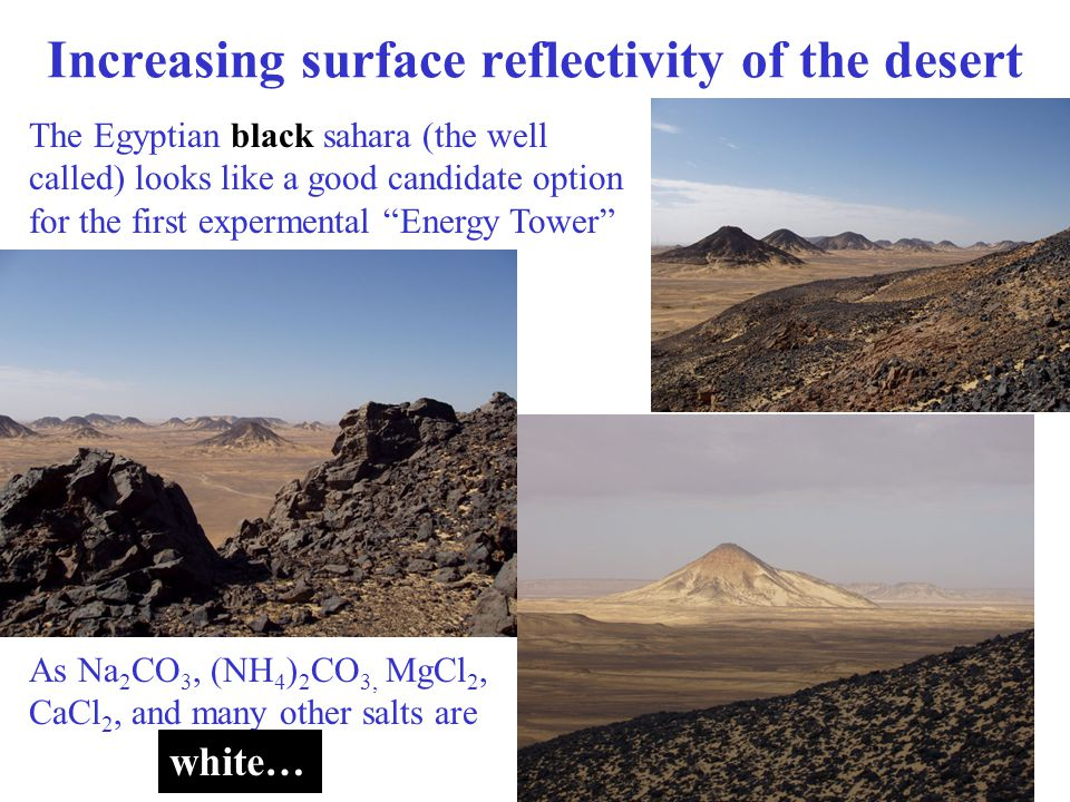 Increasing surface reflectivity of the desert