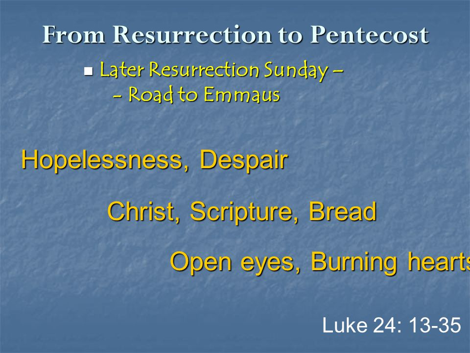 From Resurrection to Pentecost