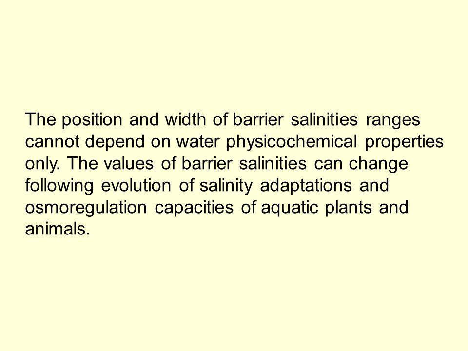 The position and width of barrier salinities ranges cannot depend on water physicochemical properties only.
