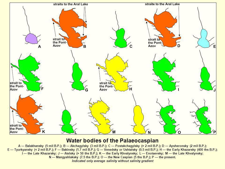 Water bodies of the Palaeocaspian A — Balakhansky (5 mil B. P