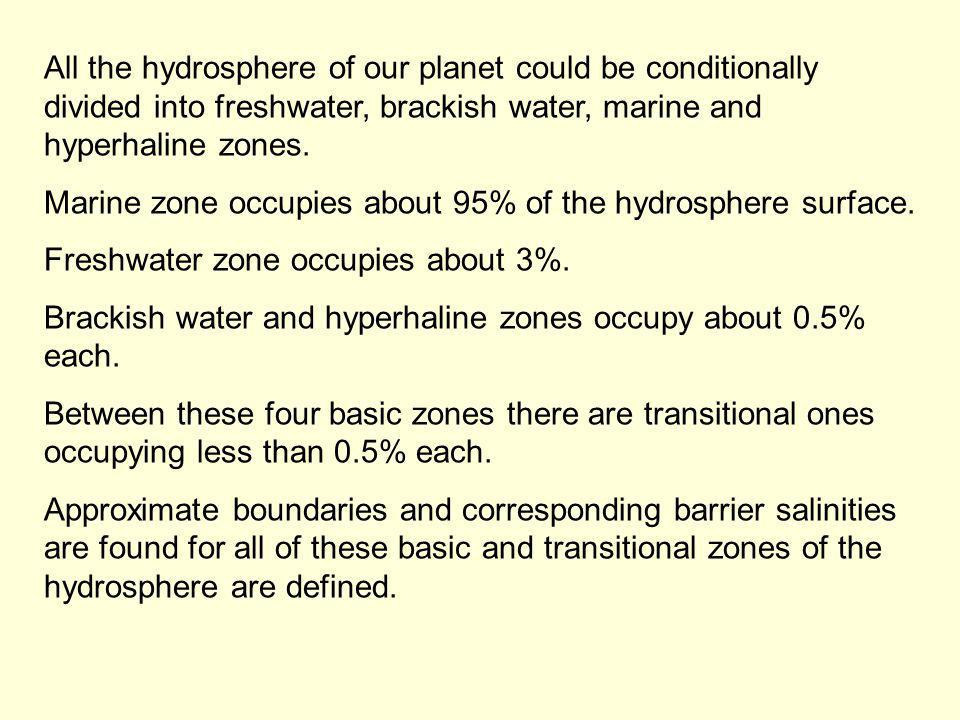 All the hydrosphere of our planet could be conditionally divided into freshwater, brackish water, marine and hyperhaline zones.
