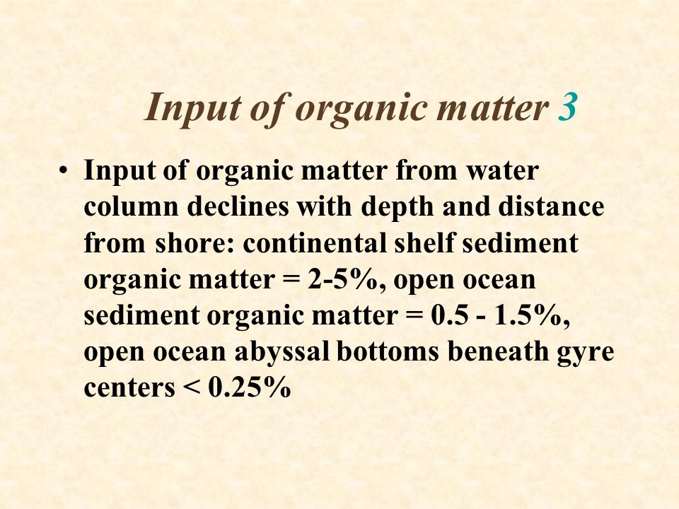 Input of organic matter 3