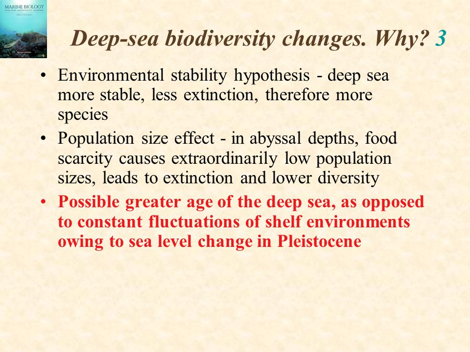 Deep-sea biodiversity changes. Why 3