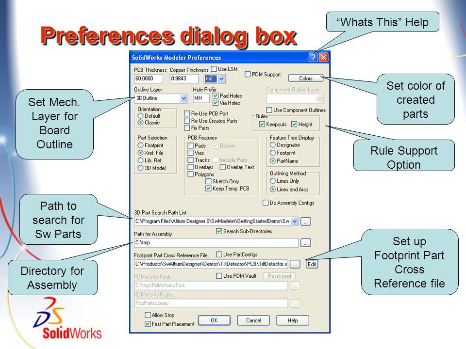 Preferences dialog box