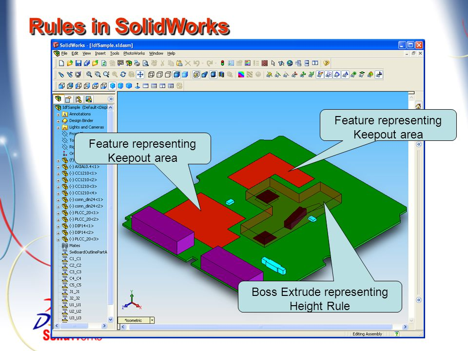 Rules in SolidWorks Feature representing Keepout area