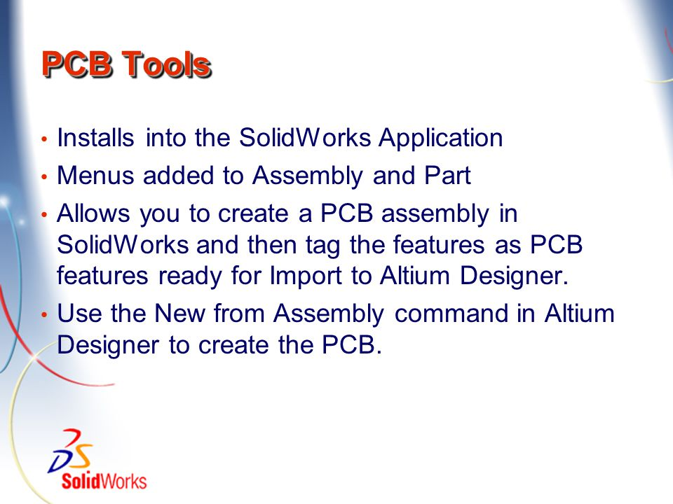 PCB Tools Installs into the SolidWorks Application