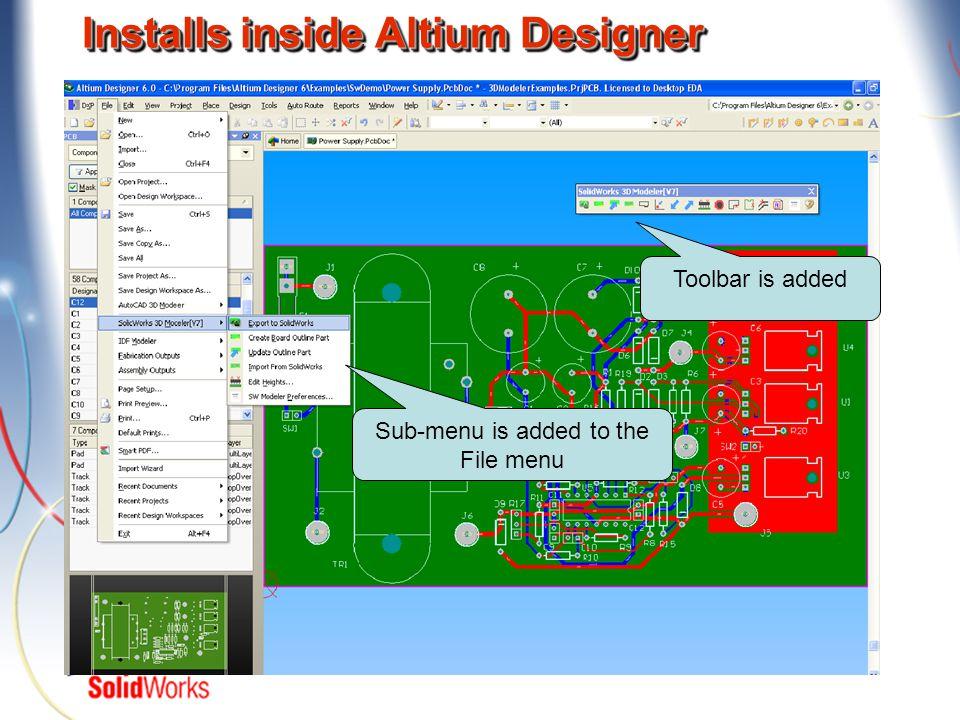 Installs inside Altium Designer