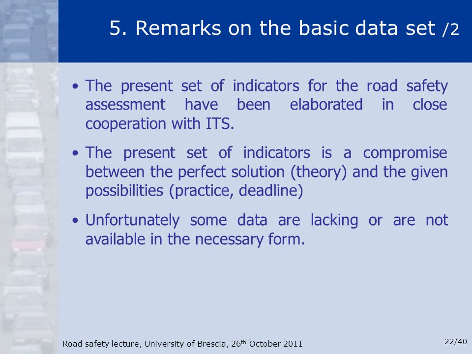 5. Remarks on the basic data set /2
