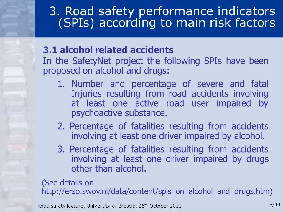 3. Road safety performance indicators (SPIs) according to main risk factors