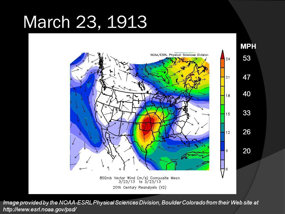 March 23, 1913 MPH. 53. 47. 40. 33. 26.