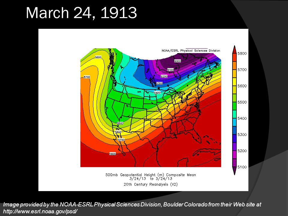 March 24, 1913 By the 24th the upper level pattern had not changed much at all.