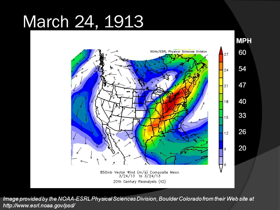 March 24, 1913 MPH. 60. 54. 47. 40. 33. 26. The wind shear had increased, continuing to feed out of the gulf of mexico.
