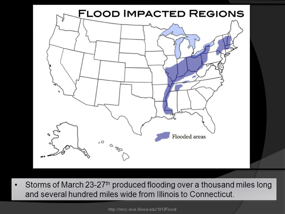 Storms of March 23-27th produced flooding over a thousand miles long and several hundred miles wide from Illinois to Connecticut.