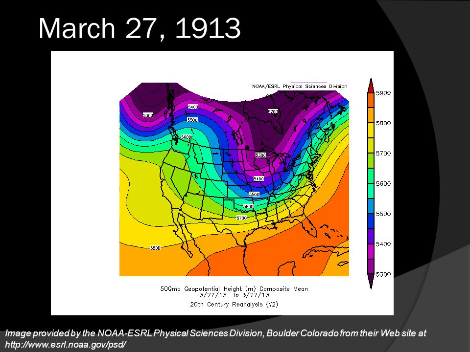 March 27, 1913 A notably deep, and cold trough moved over the Great Lakes.
